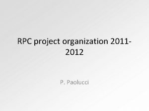 RPC project organization 20112012 P Paolucci RPC Institution