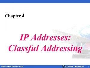 Chapter 4 IP Addresses Classful Addressing Http netwk