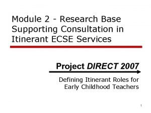 Module 2 Research Base Supporting Consultation in Itinerant