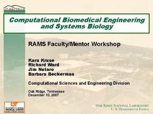 Computational Biomedical Engineering and Systems Biology RAMS FacultyMentor