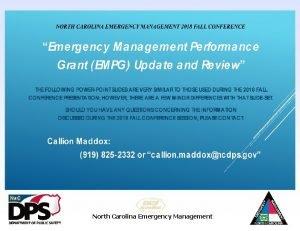 North Carolina Emergency Management Preparedness Grants 101 North