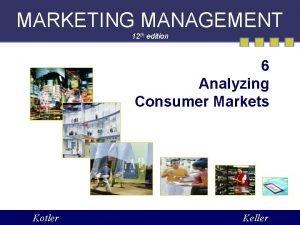 MARKETING MANAGEMENT 12 th edition 6 Analyzing Consumer