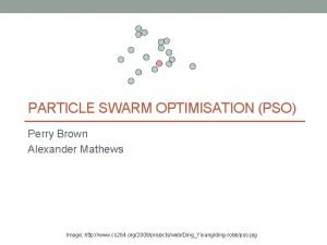 PARTICLE SWARM OPTIMISATION PSO Perry Brown Alexander Mathews