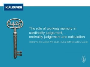 The role of working memory in cardinality judgement