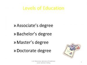 Levels of Education Associates degree Bachelors degree Masters