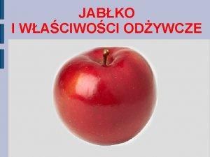 JABKO I WACIWOCI ODYWCZE JABKO jadalny kulisty owoc