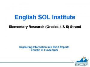 English SOL Institute Elementary Research Grades 4 5