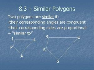 8 3 Similar Polygons Two polygons are similar