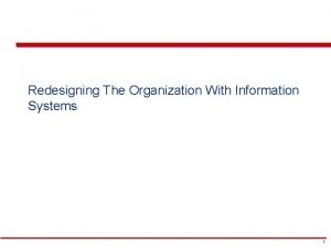Chapter Redesigning The Organization With Information Systems 1