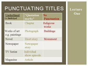 PUNCTUATING TITLES Underlined Quotation marks Chapter No Punctuation