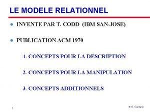 LE MODELE RELATIONNEL l INVENTE PAR T CODD