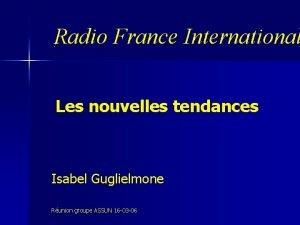 Radio France International Les nouvelles tendances Isabel Guglielmone