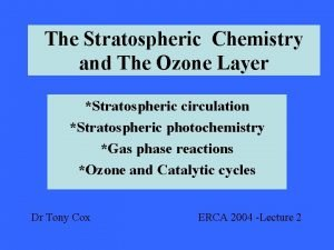 The Stratospheric Chemistry and The Ozone Layer Stratospheric