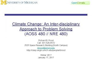 Climate Change An Interdisciplinary Approach to Problem Solving