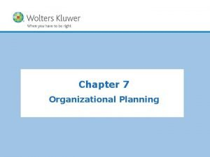 Chapter 7 Organizational Planning Planning Planning is deciding