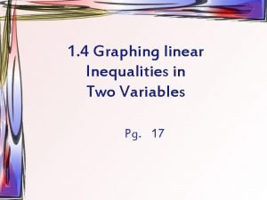 1 4 Graphing linear Inequalities in Two Variables