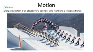 Motion Definition Change in position of an object