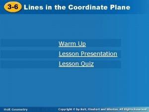 3 6 Linesininthe the Coordinate Plane Warm Up