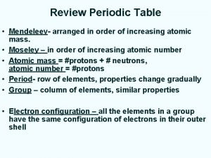 Review Periodic Table Mendeleev arranged in order of