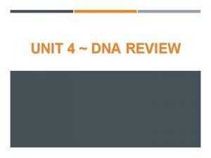 UNIT 4 DNA REVIEW UNIT 4 DNA REVIEW