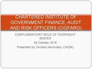 CHARTERED INSTITUTE OF GOVERNMENT FINANCE AUDIT AND RISK