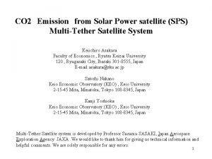 CO 2Emissionfrom Solar Power satellite SPS MultiTether Satellite