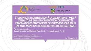 TUDE PILOTE CONTRIBUTION LA VALIDATION ET MISE LESSAI