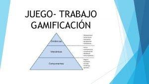 JUEGO TRABAJO GAMIFICACIN JUEGO TRABAJO Consiste en organizar