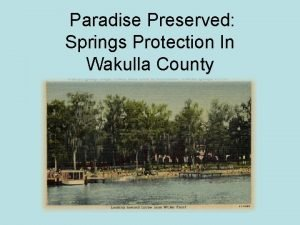 Paradise Preserved Springs Protection In Wakulla County SPRINGS