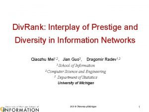 Div Rank Interplay of Prestige and Diversity in