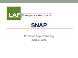SNAP Pro Bono Project Training June 8 2018