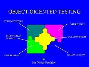 OBJECT ORIENTED TESTING SYSTEM TESTING INHERITANCE INTEGRATION TESTING