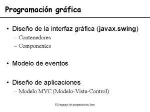 Programacin grfica Diseo de la interfaz grfica javax