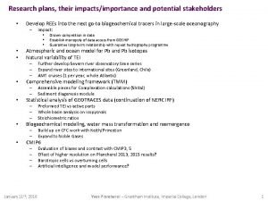 Research plans their impactsimportance and potential stakeholders Develop