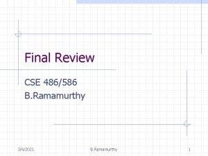 Final Review CSE 486586 B Ramamurthy 342021 B
