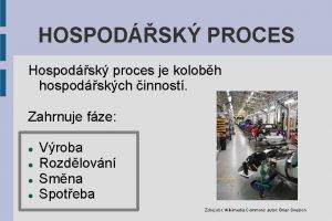 HOSPODSK PROCES Hospodsk proces je kolobh hospodskch innost