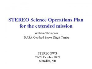 STEREO Science Operations Plan for the extended mission