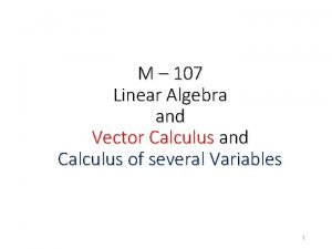M 107 Linear Algebra and Vector Calculus and