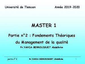 Universit de Tlemcen Anne 2019 2020 MASTER 1
