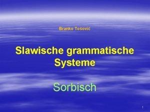 Branko Toovi Slawische grammatische Systeme Sorbisch 1 Das