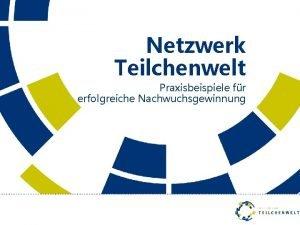 Netzwerk Teilchenwelt Praxisbeispiele fr erfolgreiche Nachwuchsgewinnung Fellows bers