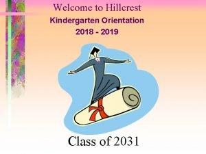 Welcome to Hillcrest Kindergarten Orientation 2018 2019 Class