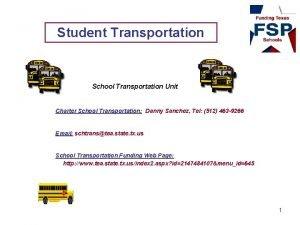 Student Transportation School Transportation Unit Charter School Transportation
