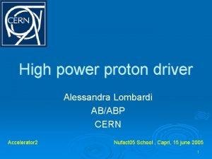 High power proton driver Alessandra Lombardi ABABP CERN