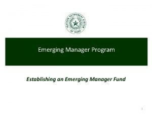Emerging Manager Program Establishing an Emerging Manager Fund