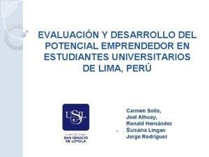 EVALUACIN Y DESARROLLO DEL POTENCIAL EMPRENDEDOR EN ESTUDIANTES