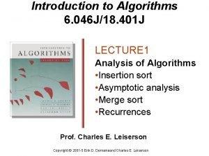Introduction to Algorithms 6 046 J18 401 J