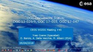 OGC Documents Status OGC 13 026 r 9