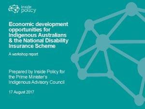 Economic development opportunities for Indigenous Australians the National
