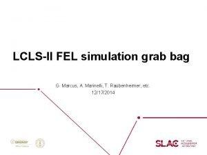 LCLSII FEL simulation grab bag G Marcus A